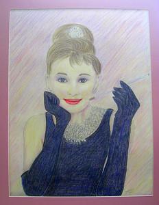 8 Audrey Hepburn, Breakfast at Tiffany's, 18x24, color pencil, june 18, 2013 CIMG8871ss