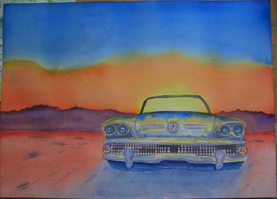 15 Desert Roadmaster, 10x14 watercolor, completed aug 9, 2013 CIMG8887