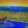 5 Adk Moose, watercolor, 4x6, may 21, 2013 CIMG8682