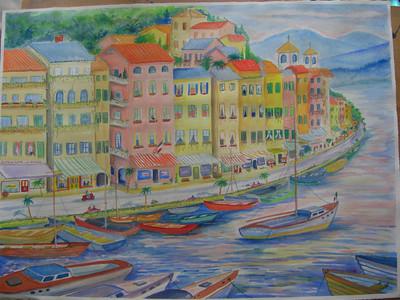 9 Italian Seaside Village  watercolor, 29x21, july 27, 2013 CIMG8868ss
