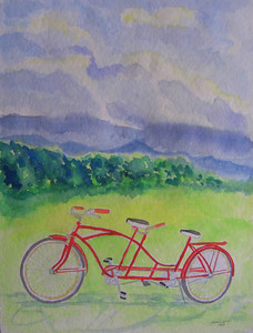 21  After the storm, let's ride, 9x12 watercolor, aug 18, 2013 CIMG8908