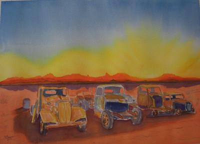 23 Desert Junk Yard, 10x14 watercolor, completed aug 27  2013 CIMG8967