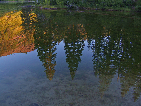 Big Elk Lake, Marble Mountains Cal, morning reflection as I filtered water.
