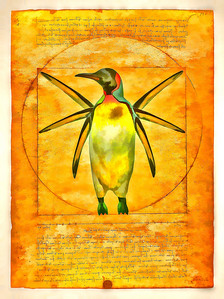 Vitruvian Penguin - A member the Italian Antarctic Expeditionary Team of 1489, naturalist Guillermo Eduardo was enthralled by his discovery of several species of 'flightless birds' and returned with many sketches and observations.  Long an admirer of Leonardo da Vinci and the famed architect, Vitruvius Pollio, Guillermo sought to depict his vision of the King penguin's 'perfect' proportions in this mixed media painting created around 1492.  Guillermo never returned to his beloved penguins as the voyages of Christopher Columbus to the continents of the Western hemisphere had captured both the imagination and funding of the court. While Guillermo remained somewhat unheralded as an artist of stature in his time, one may speculate this work might have inspired the creation of the modern day multi-tool.