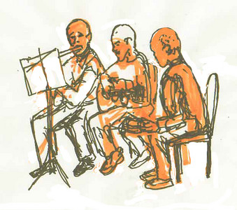 Quick Sketch: Cyclades Talent Show, President Daniel Dallarossa plays flute with his son and Ivan Passos