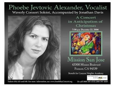 Phoebe Jevtovic Alexander sang beautifully at the beautiful Mission San Jose.