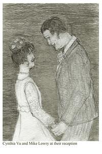 Wedding sketch: Mike Lowry and Cynthia Vo