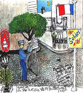 Bastille Day Paris 1997 Avant de la feu artifice Le 14 Juillet