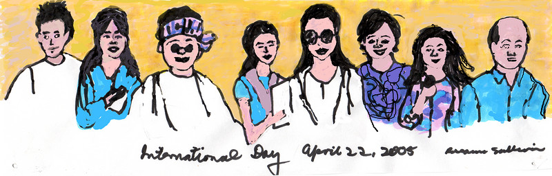 Quick Sketch: Cyclades International Day 2005; Vietnamese, Korean, African, South American, Brazilian, Chinese, Indian, Iranian (and Cyclades employees are from many other nations beyond these)