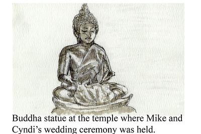 Wedding sketch: Mike Lowry and Cyndy Vo Buddha statue at their wedding