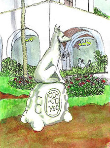 Travel sketch: Cocoyoc statue, Cocoyoc Mexico 2005