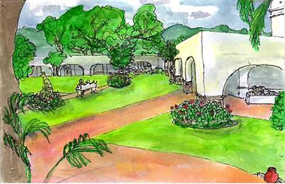 Travel sketch: Cocoyoc plaza, Cocoyoc Mexico 2005