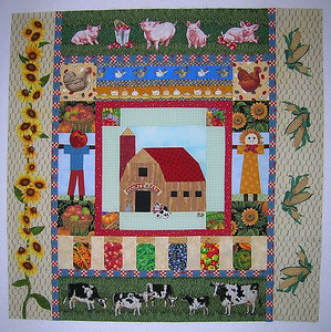Ann's piece with my additions... pigs, cows, sunflowers and corn.