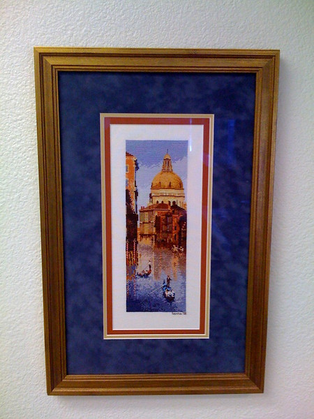 "John Clayton's ""Venice,"" from his International Collection, like ""Greek Steps,"" stitched several years ago. This was completed for Katie Wilson, my aunt, for her birthday this year."