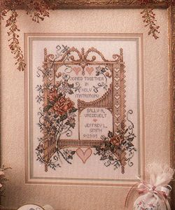 Stoney Creek Book #95 Victorian Wedding Remembrance was a gift for friends Sybil Blaauw and Mathew Kolbert on the occasion of their wedding, July, 1999. Finished project (demo image from Stoney Creek)