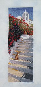 Greek Steps from the John Clayton International Collection published by Heritage Stitchcraft, a company I encountered at the Cross Stitch convention we attended while we were in London. The finished project will hang on the wall of Shawna Kelly, a dear friend I know from our time together, years ago, at Shoreline Covenant Church in Shoreline, WA. Completed in September, 2005. Stitched on Sugar Maple's In the Clouds on lugana fabric.