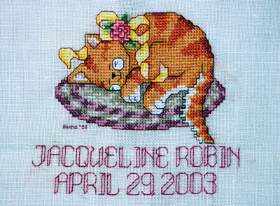 Sleeping Kitty by Ursula Michael (Pitter Patter #7)  I converted Sleeping Kitty into a birth announcement by adding name and date. It's a gift for my good friend Jennifer Wallace. Completed June 2003