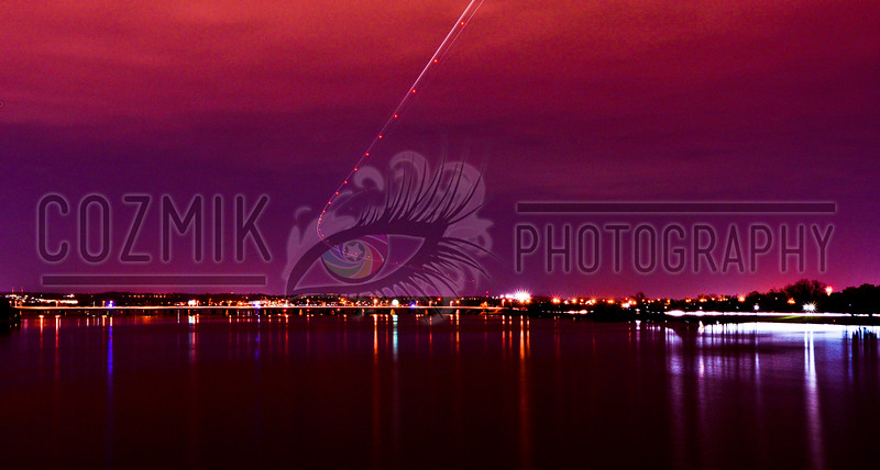 DC Night Series - December 2012<br /> potomac river/plane landing from memorial bridge south view