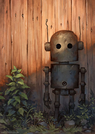 """""""I paint lonely robots experiencing the quiet wonder of the world"""""""