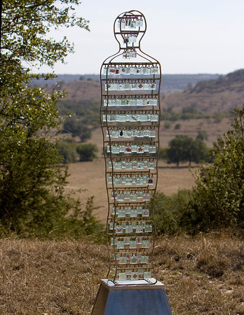 Gemini Song  stainless steel, glass, copper, brass, 8 feet tall