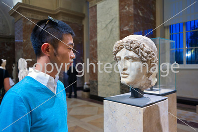 Paris, France, Young Chinese Man Visiting in Louvre Museum, Greek Antiquities Sculptures, profile