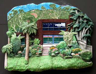 "Geigers' Beach House (1989) Glazed stoneware, mixed media 34"" x 45"" x 6"" Private collection, Carpinteria, CA"