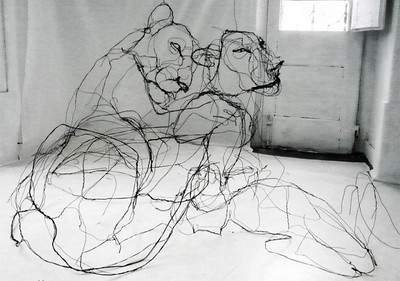 David Oliveira's 3D sculptures made using wire.