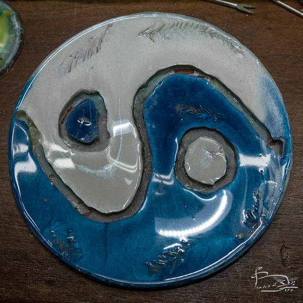 Yin Yang Symbol in blue and white