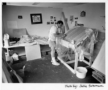 Building the sculpture of the Boulderado, 1983, The Station, Boulder, CO