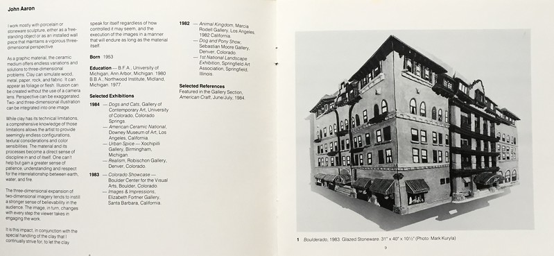 From Catalogue: Clay Beyond Funtion, Group Show of Colorado Clay artists, 1985