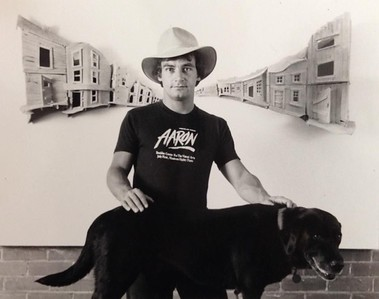 "Artist and Dog with ""Dry Gulch #6"", Boulder Center for the Visual Arts, 1982"