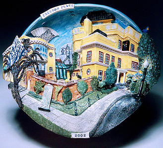 "Freedom Place #1 Glazed porcelain, mixed 15"" x 16"" x 6"" John Aaron, Artist photo: Al Underwood Private collection, Washington, DC"