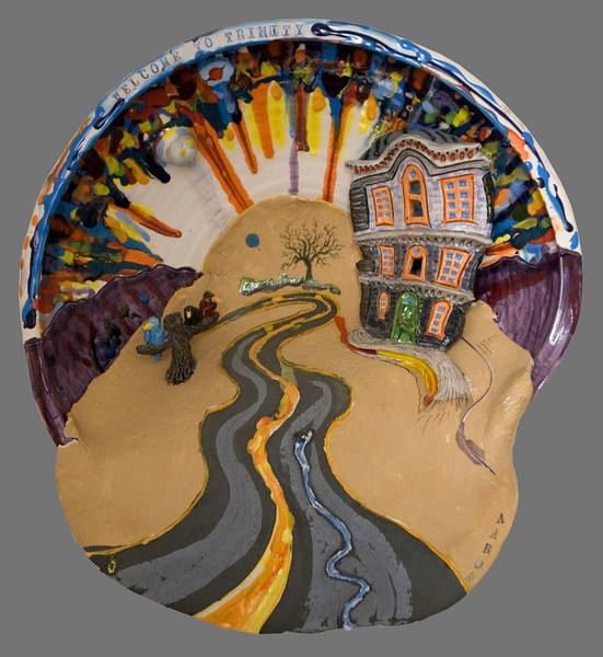 "Welcome To Trinity Glazed porcelain, mixed 16"" x 14"" x 6"" John Aaron, Artist photo: Jerry Downs Collection Ruth Maruschak, Arlington, VA"