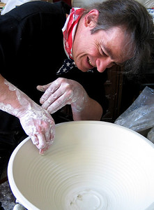 "John Aaron throwing the bowl that will become ""Welcome To Trinity"",  the sculpture whose creation was chronicled in Australia's Ceramics  Technical magazine, Dec, 2005  The piece was created in early 2005. Photo: Andrea Scharnau"