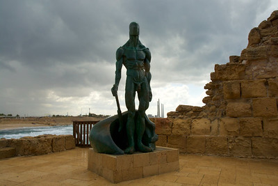 Statue of a Crusader with Haifa in the background
