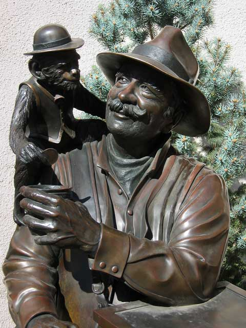 The Organ Grinder and Friend - bronze.