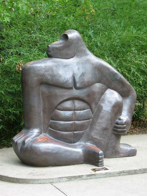 The gorilla sculpture at the Topeka, Kansas Zoo.