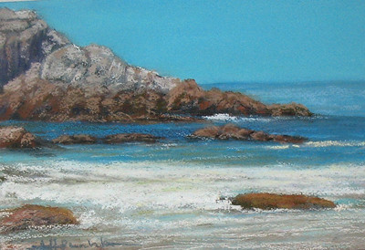 "San Carlos shoreline 7""x10"" Soft Pastel & Alcohol Wash on W/C Paper"