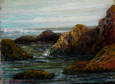 "Pacifica Rocks 11""x14"" Oil Pastel on Paper Collection of the Artist"