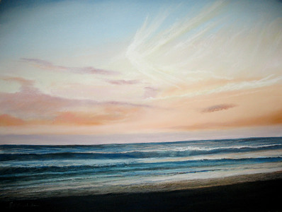 "Pajaro Sunset 22""x30"" Soft Pastel and Alcohol Wash on 300lb Hot Press Arches Private Collection"