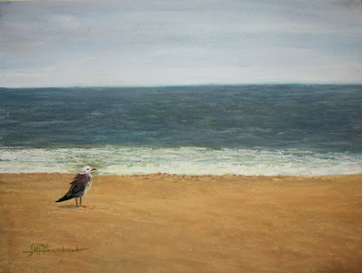 "Lonely Gull 10""x15"" Soft Pastel and Alcohol Wash on W/C Paper Private Collection"