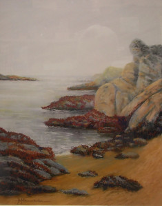 "Foggy Morning, Low Tide, Bean Hollow 22""x30"" Soft Pastel and Alcohol Wash on Watercolor Paper Private Collection"