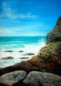 "Below Morro Rock 11""x14"" Pastel &Alcohol Wash onW/C Paper Private Collection"