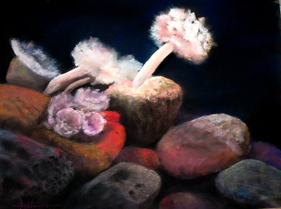 "Giant Anemones 19""x25"" Soft Pastel on La Carte Sanded Paper"