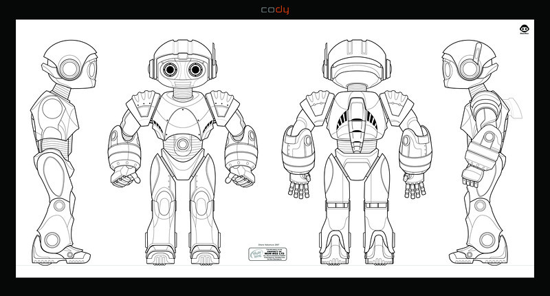 Cody the Robosapien : Main character Robot Design and Art Direction. Turn around drawing created in Illustratior