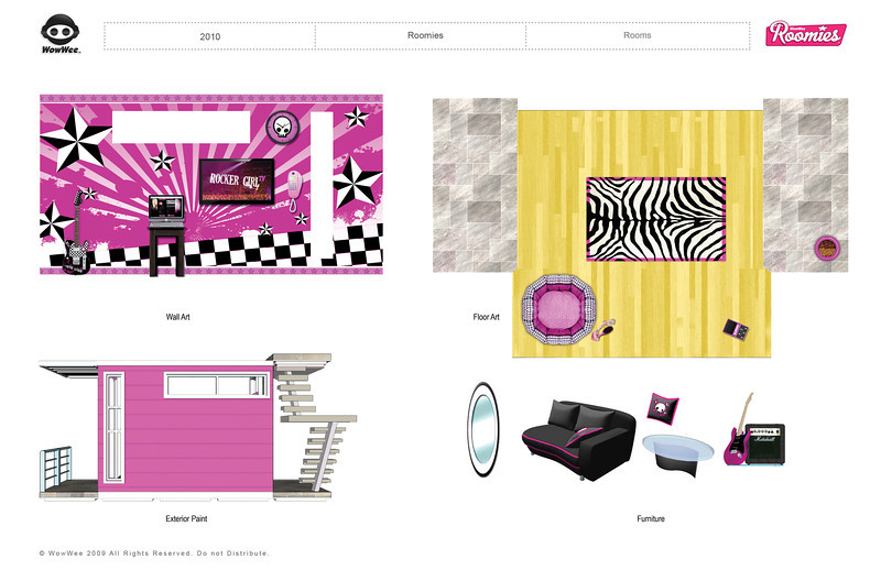 Roomies: Unreleased Small Doll Line. Touch sensitive Room Decor Prototypes Designs. Wall Art designs in Illustrator.
