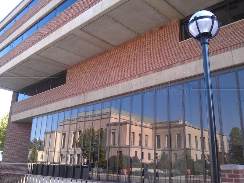 U of M building reflecting Rackham Graduate School
