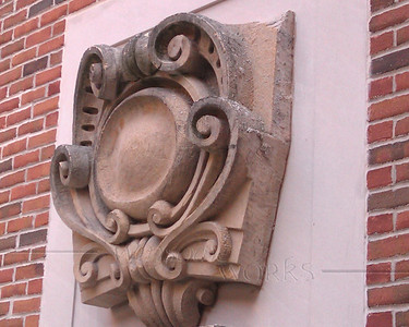 Old sculptural decoration from a former building in the North Quad, University of Michigan