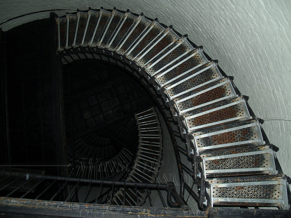 Spiral stairway in Hunting Island Lighthouse, looking up