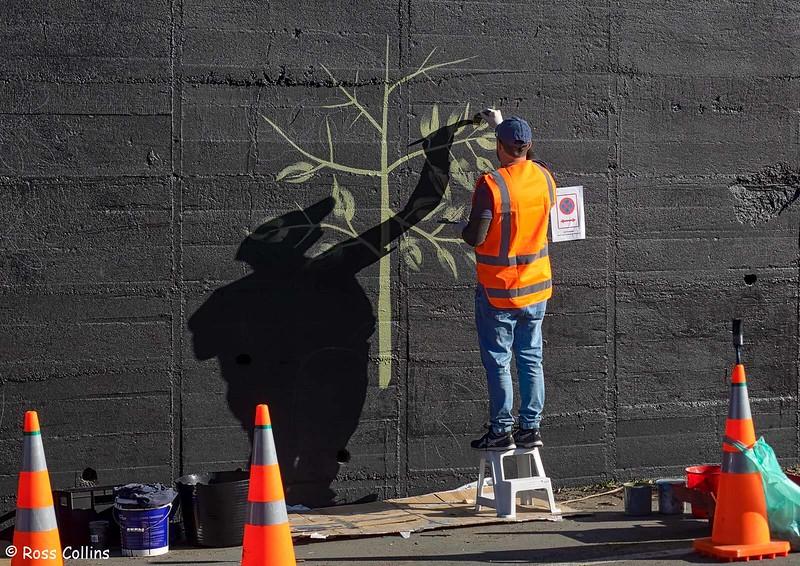 Sheyne Tuffery mural, Wellington, 18 May 2020